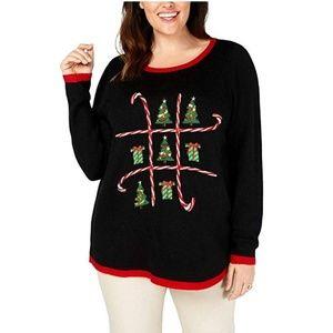 Karen Scott 3X Black Christmas Sweater NEW H3-03